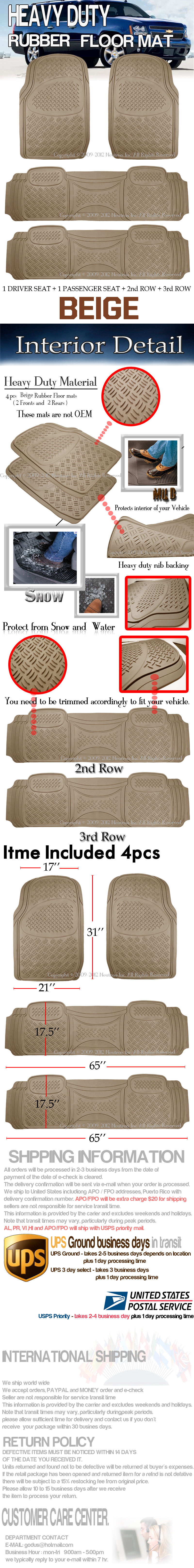 Fits FORD EXPEDITION HEAVY DUTY SEMI CUSTOM TAN BEIGE RUBBER FLOOR MATS 3PCS