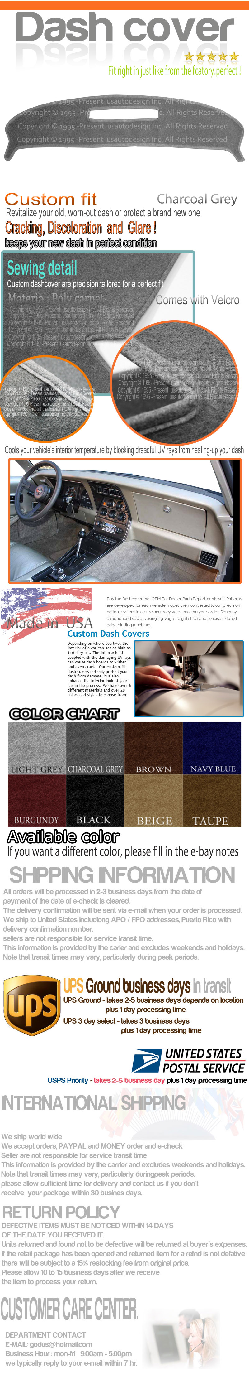 CHARCOAL GREY fits 1983-1989  CHEVROLET CORVETTE DASH COVER MAT DASHBOARD PAD